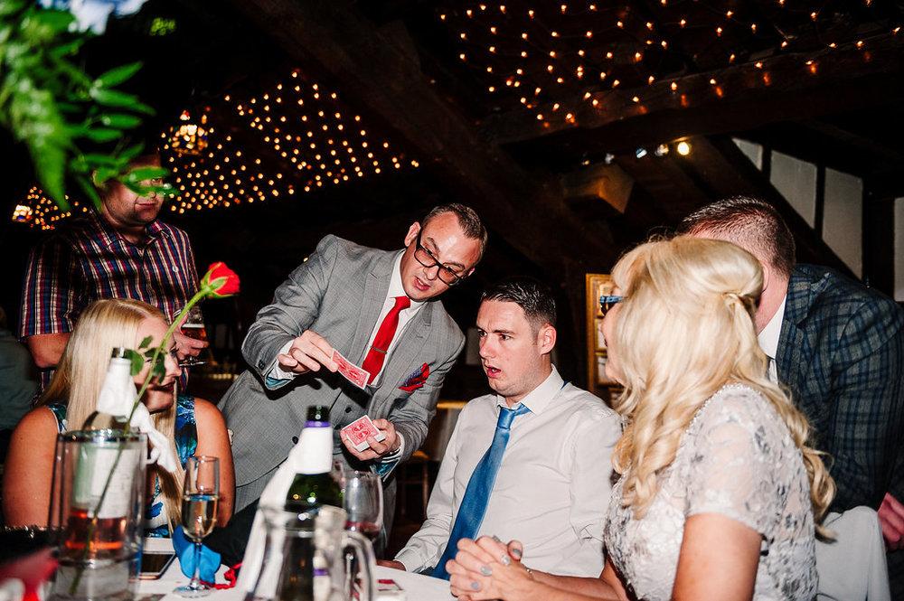 Magician Andrew Dean at Rivington Hall Barn wedding