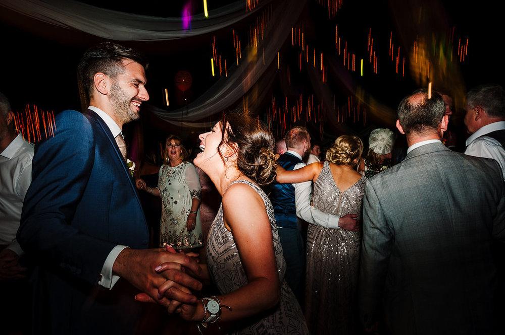 Guests dancing at Rivington Hall Barn wedding