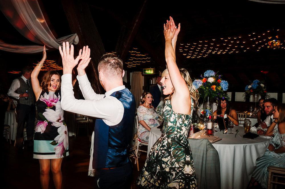 Guests dancing at Rivington Hall Barn.
