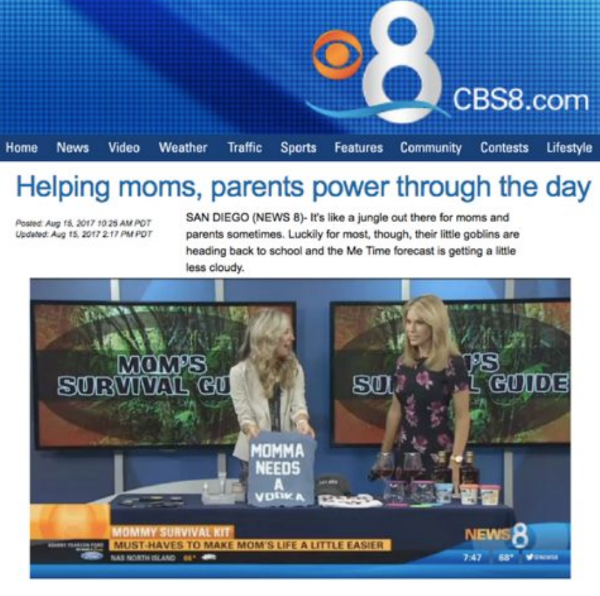 Featured on CBS 8 San Diego, Mom's Survival Guide. August 2017