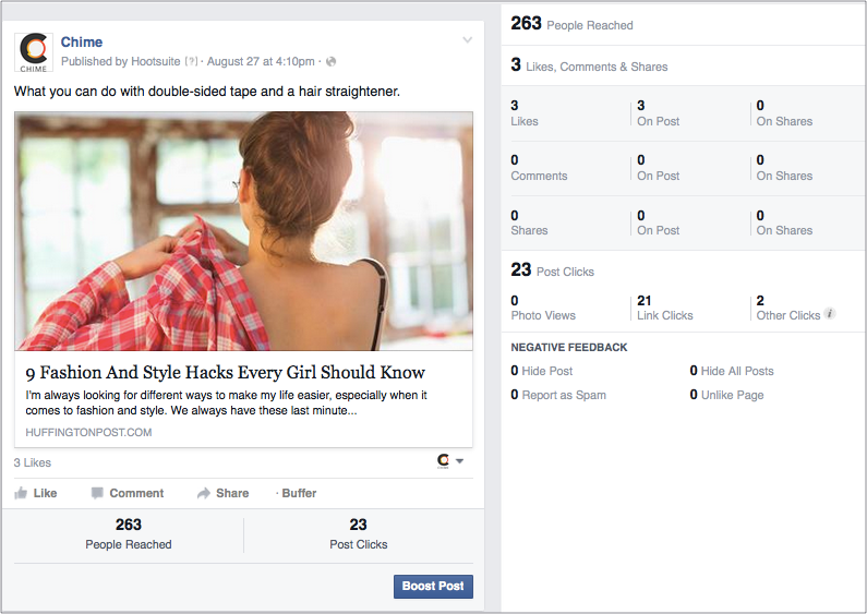 Facebook post with curated content