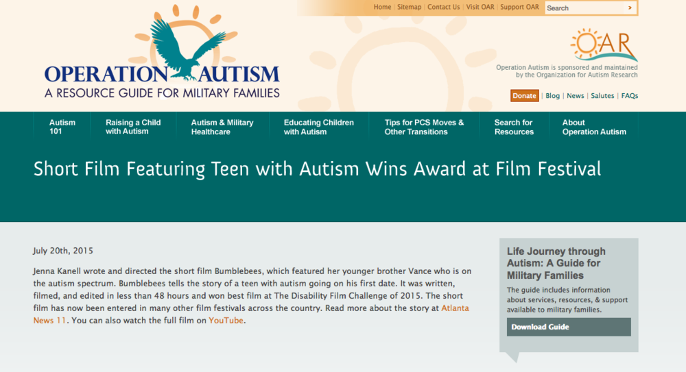 Featured on Operation Autism  (a resource guide for military families)
