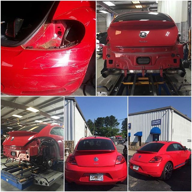 Here are some repair photos of the Hand's vehicle. Mr. and Mrs. Hand brought their 2013 Volkswagen Beetle to us for a Factory-Certified Repair. We exceeded their expectations and returned their vehicle back to pre-loss condition! #autobody #bodyshop #collision #auto #repair #accident #vehicle #car #factorycertified #volkswagen #beetle #carpaint #autorepair #collisionrepair #obwbeforeandafter