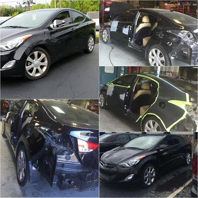 We repaired Ms. Geiger's 2013 Hyundai Elantra. She was very pleased when she picked up her vehicle knowing that it was repaired according to manufacturer recommendations! Here are some before, during, and after photos of her repair. #autobody #bodyshop #auto #autorepair #collisionrepair #carpaint #hyundai #elantra #hyundaielantra #accident #collision #obwbeforeandafter