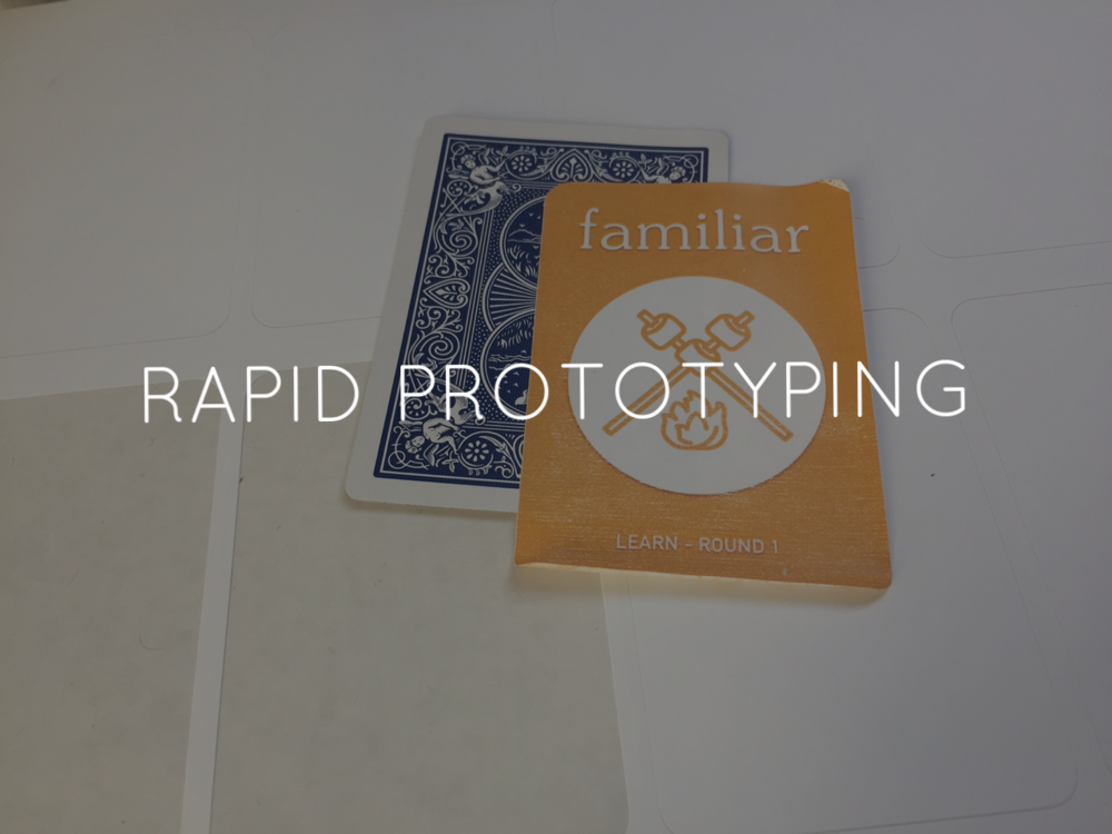 """For the final prototype, I used name-tag labels and stuck them on standard-size poker playing cards. Throughout the project, an emphasis was on creating """"minimum viable products"""", until the final round when I paid special attention to crafting a high-fidelity product."""