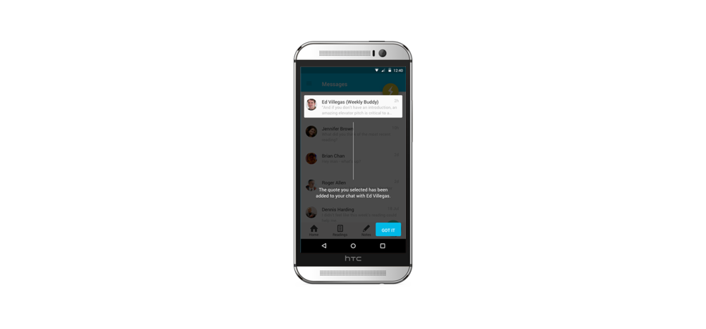 """Users can """"Tap to Add a Quote to Chat"""", starting a dialogue, and setting them up for success in in-person discussions."""