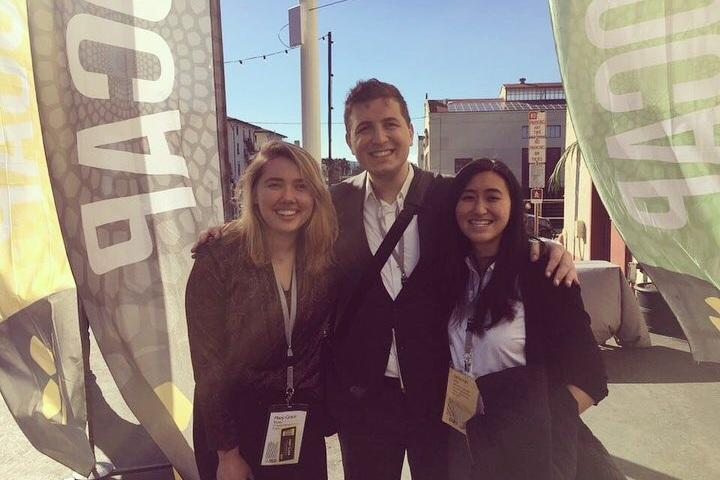 Pictured: WIIP members enjoying some networking and sunshine at SOCAP18.  From left to right: Grace Stone WG '20, Lucas Portela '19, and Deborah Chu '19.