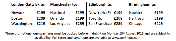 Aer Lingus promotional fares