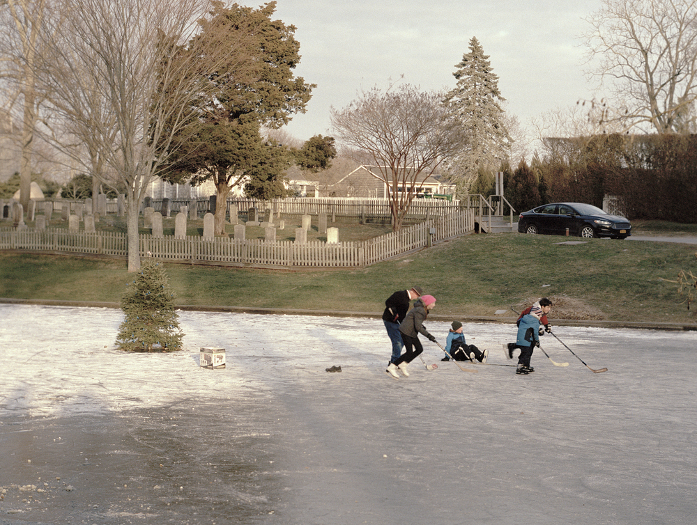 Winter recreation near the Bridgehampton cemetery