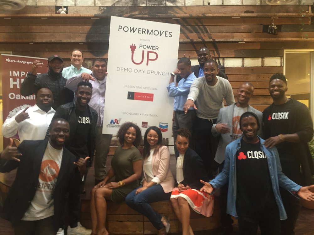 PowerMoves partnered with StartUps Illustrated to host a Saturday brunch and DEMO Day showcasing early-stage entrepreneurs of color from across the county. The pitch participants and PowerMoves team pose for a photo following the culmination of the program.