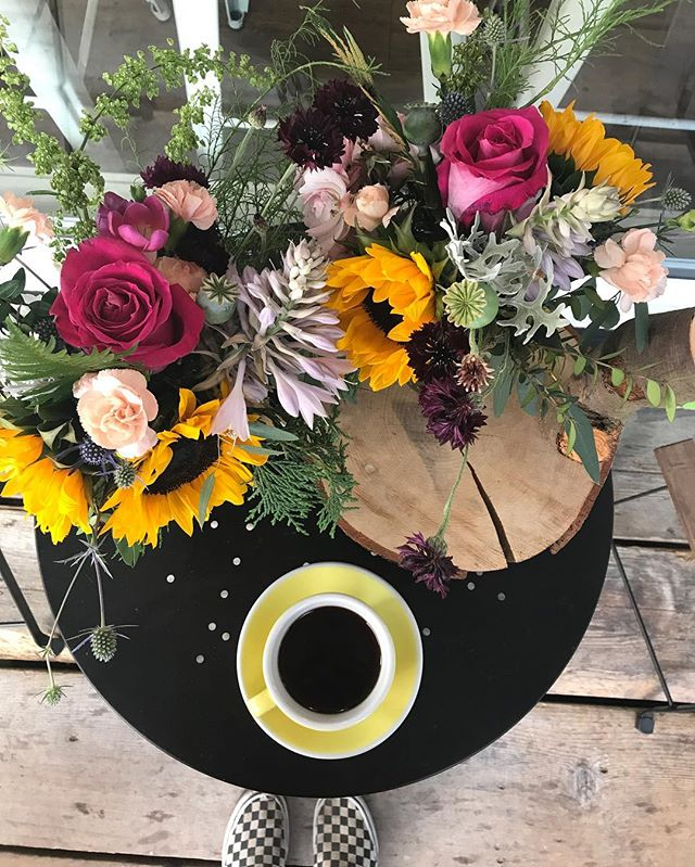 flowers & coffee, coffee and flowers! Come get 'em!