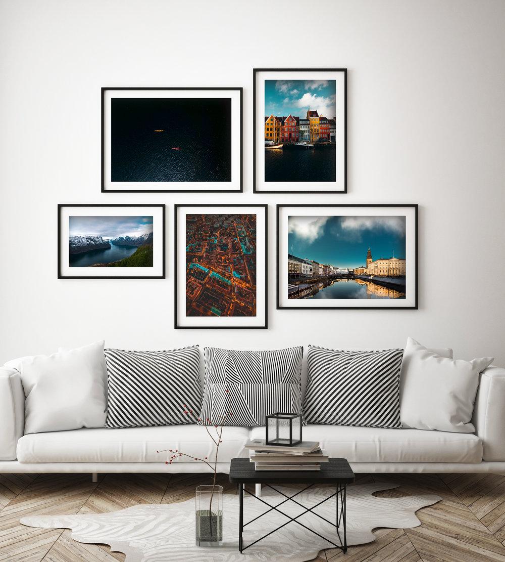 Archipelago (30x40cm) Colors Of Copenhagen (30x40 cm) Nærøyfjorden (30x40 cm) Gothenburg City Lights (30x40 cm) Lejontrappan (30x40 cm)