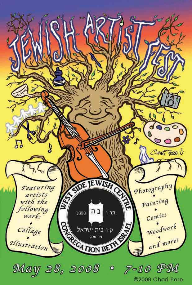 Jewish Artist Fest Postcard Illustration