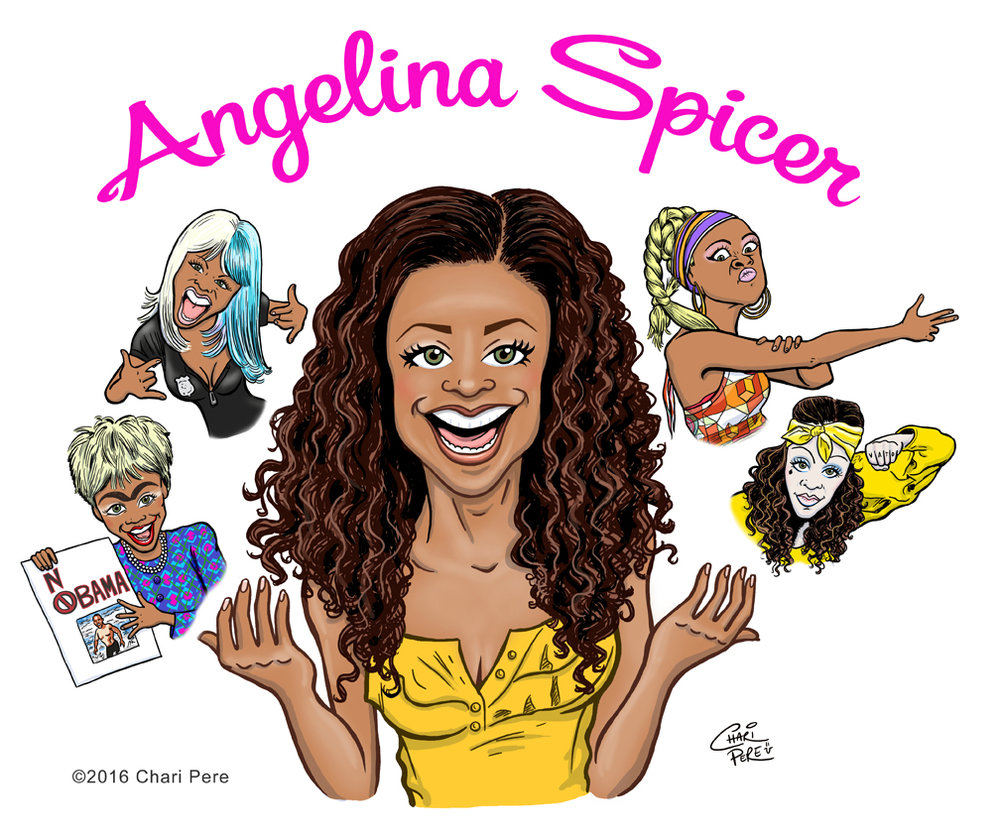 Comedienne Angelina Spicer Caricature