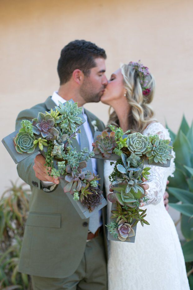 santabarbarawedding.com | Santa Barbara Wedding Style Blog |Wedding Couple Kissing | Succulent Decor | Initials Decor | Soleil Events