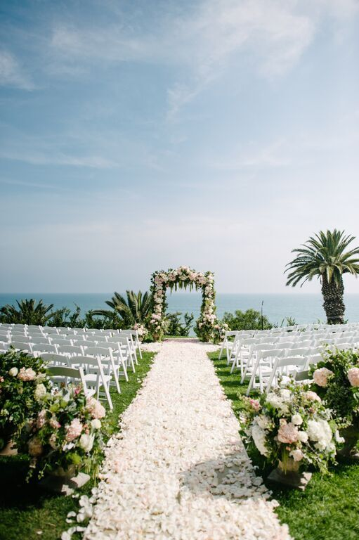 Santa Barbara Wedding Style | Santa Barbara Wedding Planner | Wedding Florist | Wisteria Lane | Altar Decor | Altar Floral | Pale Pink | Rose Petal Runner | Ocean View Ceremony