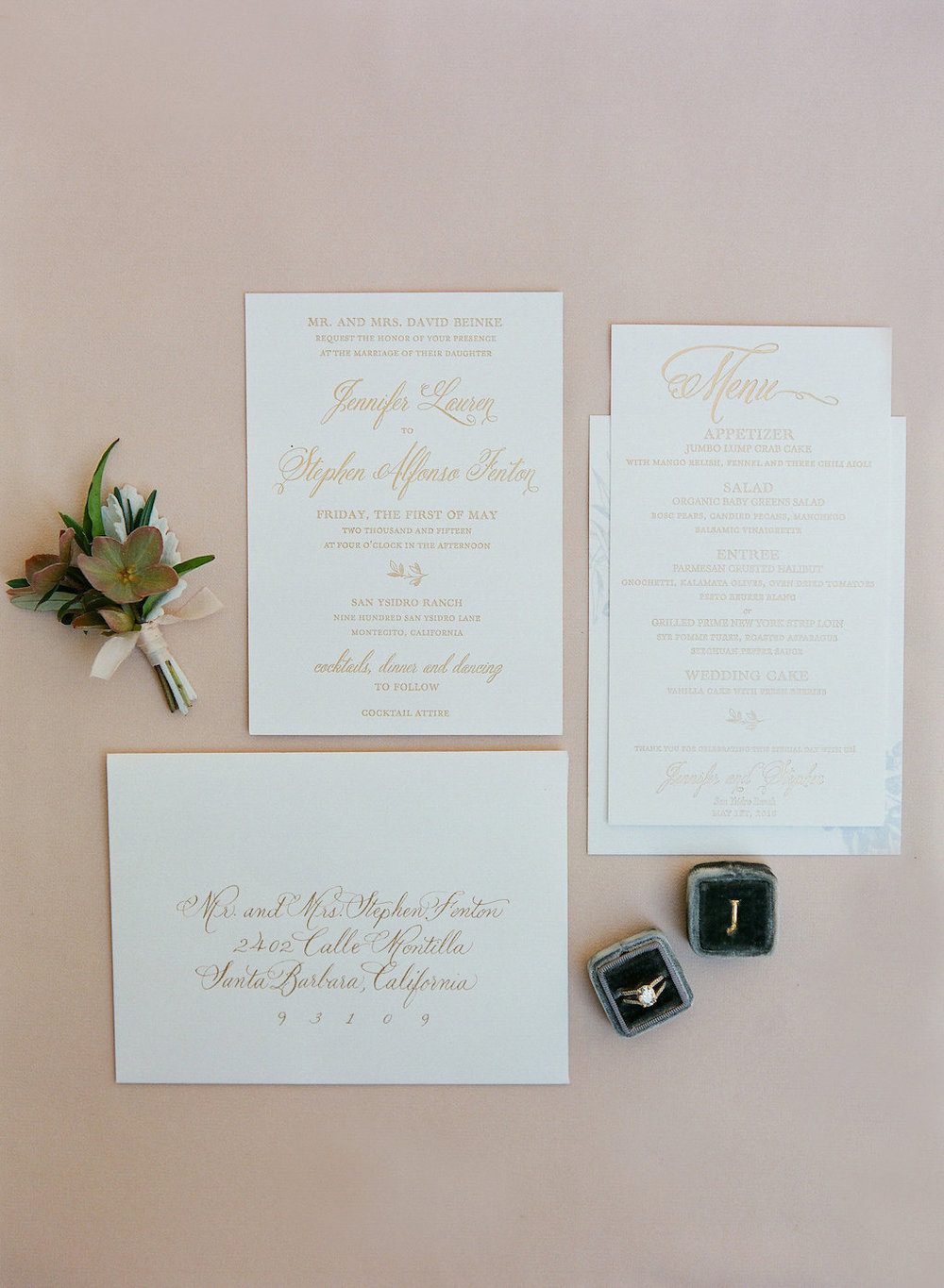 www.santabarbarawedding | Wedding Invitation | Invitations | San Ysidro Ranch Wedding Invitation