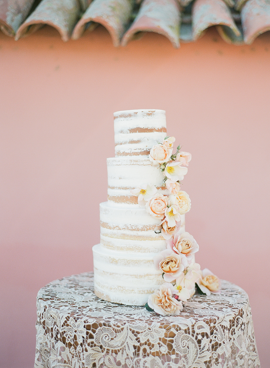 www.santabarbarawedding.com | Santa Barbara Wedding Style | naked  four tier wedding cake | Kristen Beinke Photography | Lele Patisserie