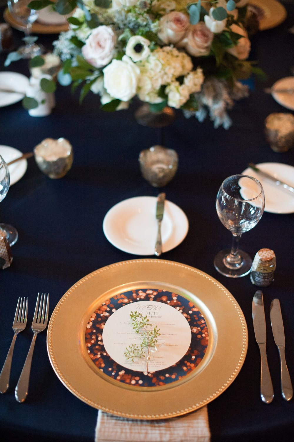 www.santabarbaraweddingstyle.com | San | Felici Events | Belmond El Encanto | Nate & Jenny Weddings | Precious and Blooming | Reception | Navy and Gold Wedding Table Top Inspo
