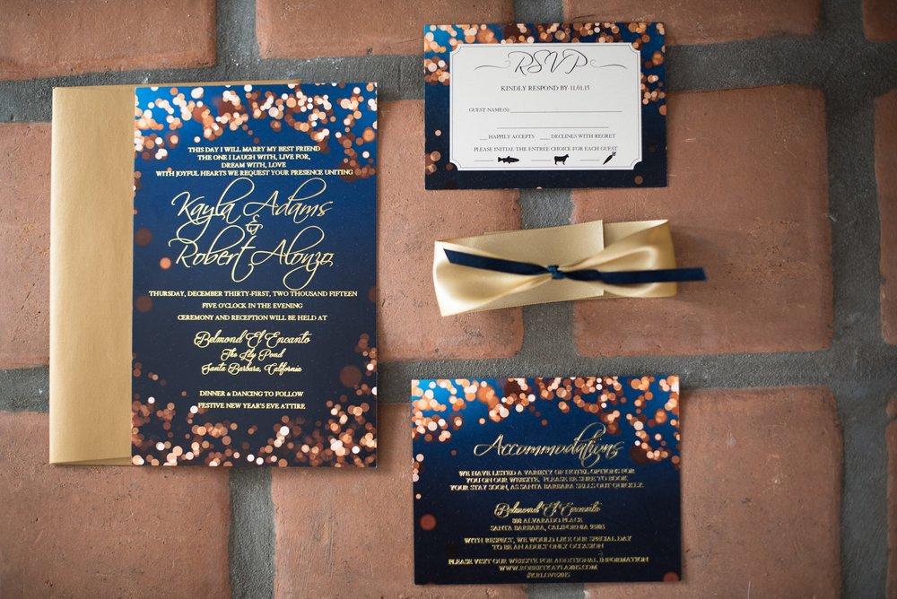 www.santabarbaraweddingstyle.com | Santa Barbara Wedding Style | Felici Events | El Encanto Wedding | Nate and Jenny Weddings | Navy and Gold Invitation