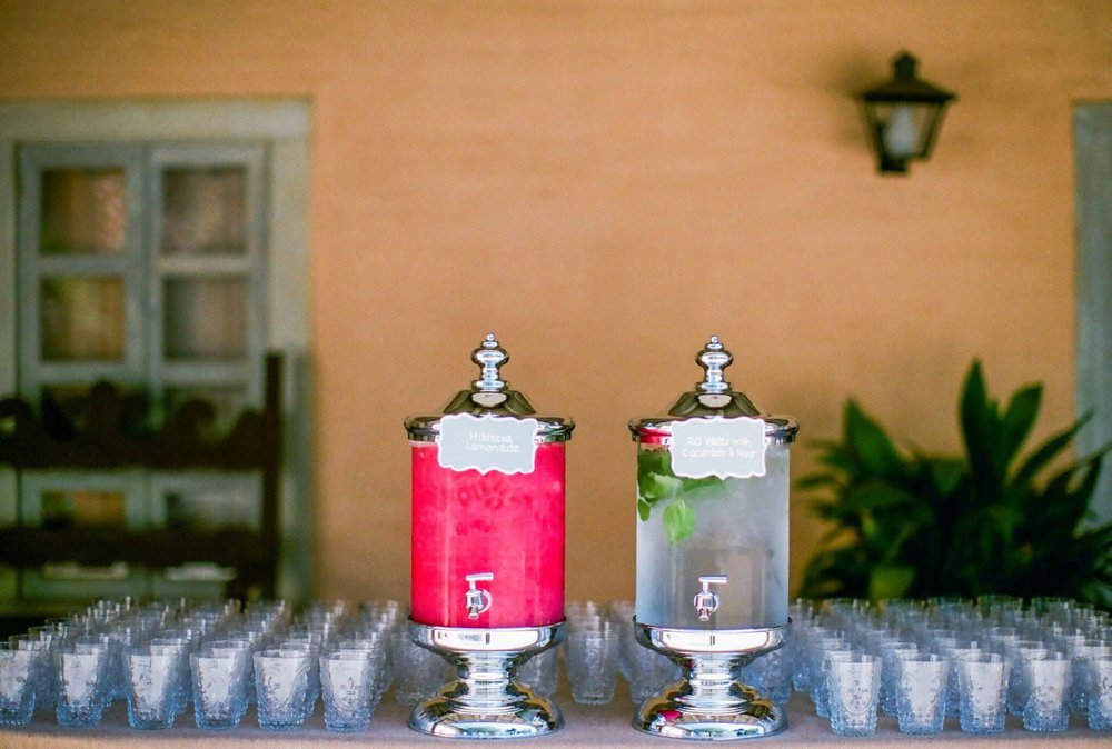 www.santabarbaraweddingstyle | Felici Events | Historical Museum | Nancy Neil Photography | Pre-ceremony refreshments | non alcoholic signautre drinks