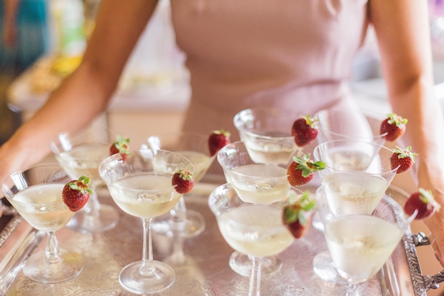 santabarbarawedding.com | Merryl Brown Events | Jose Villa Photography | Sparkling Wine with Raspberry | Signature Drink | Champagne Tray