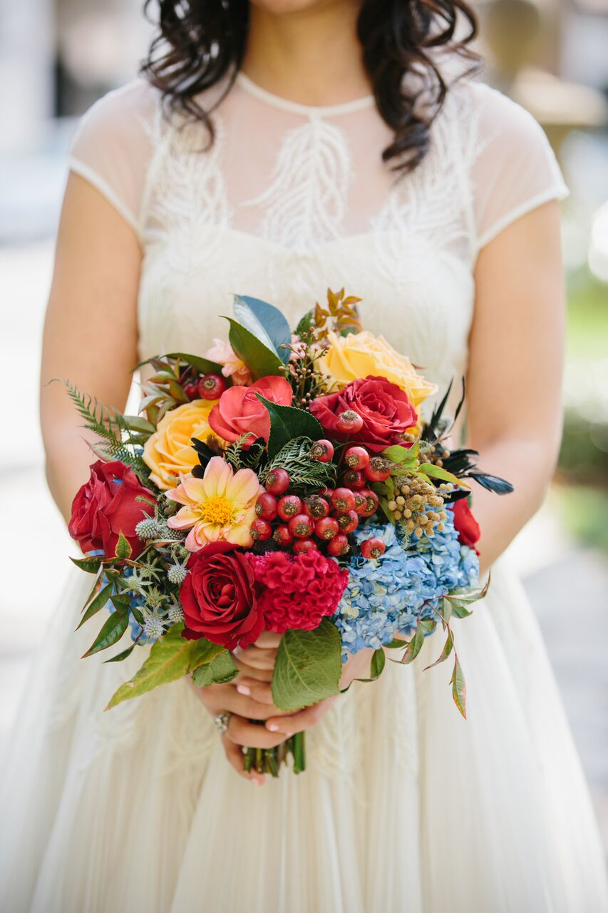 santabarbarawedding.com | Ella & Louie Floral Design | Florist | Wedding Flowers | Colorful Bride Bouquets