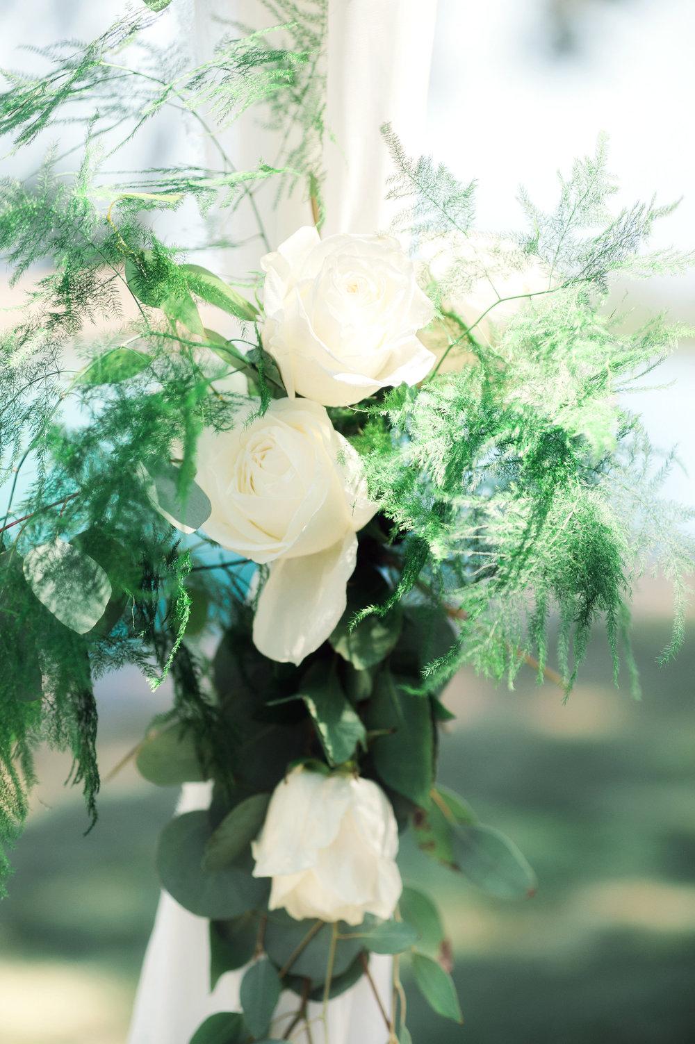 santabarbarawedding.com | Wisteria Lane Flroal Design Studio | Bride and Groom | White Roses