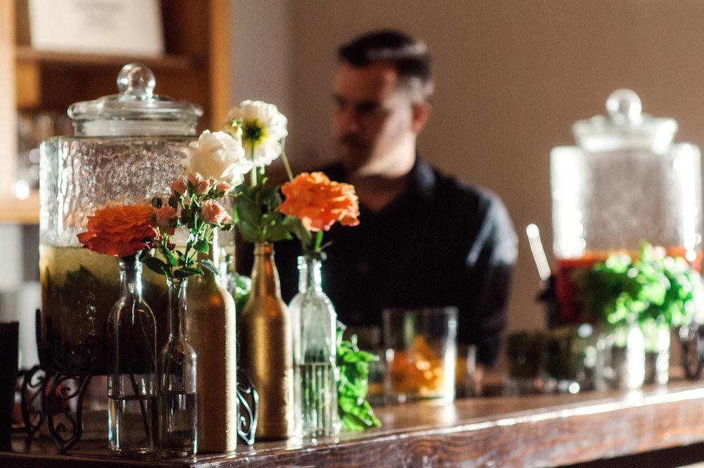 santabarbarawedding.com | Wisteria Lane Flroal Design Studio | Bride and Groom | Garden Roses | Tea Roses | Beverage Station Decor