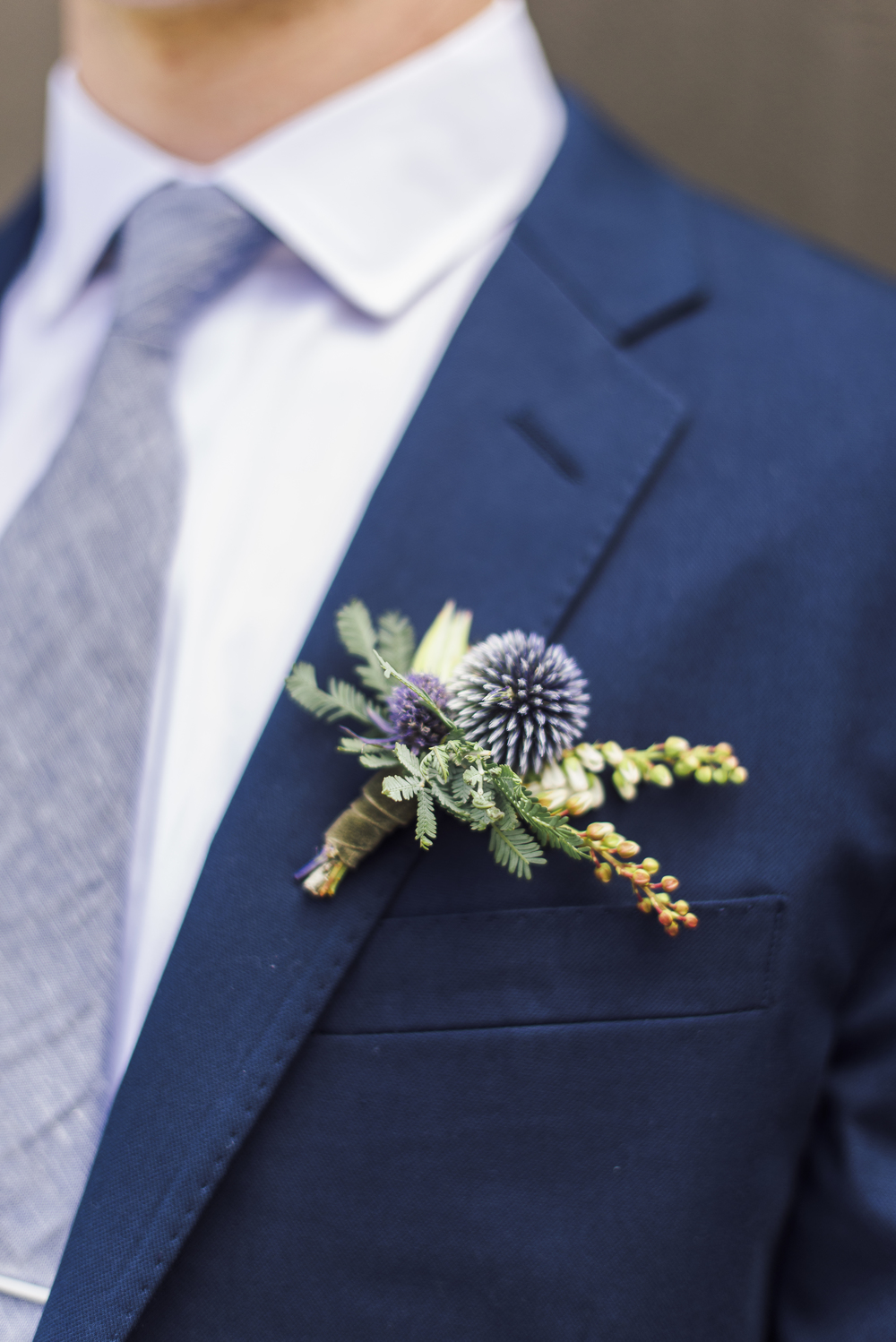 www.santabarbarawedding.com | Coco Rose Design | Floral | Wedding Flowers | Groom Boutonniere Thistle