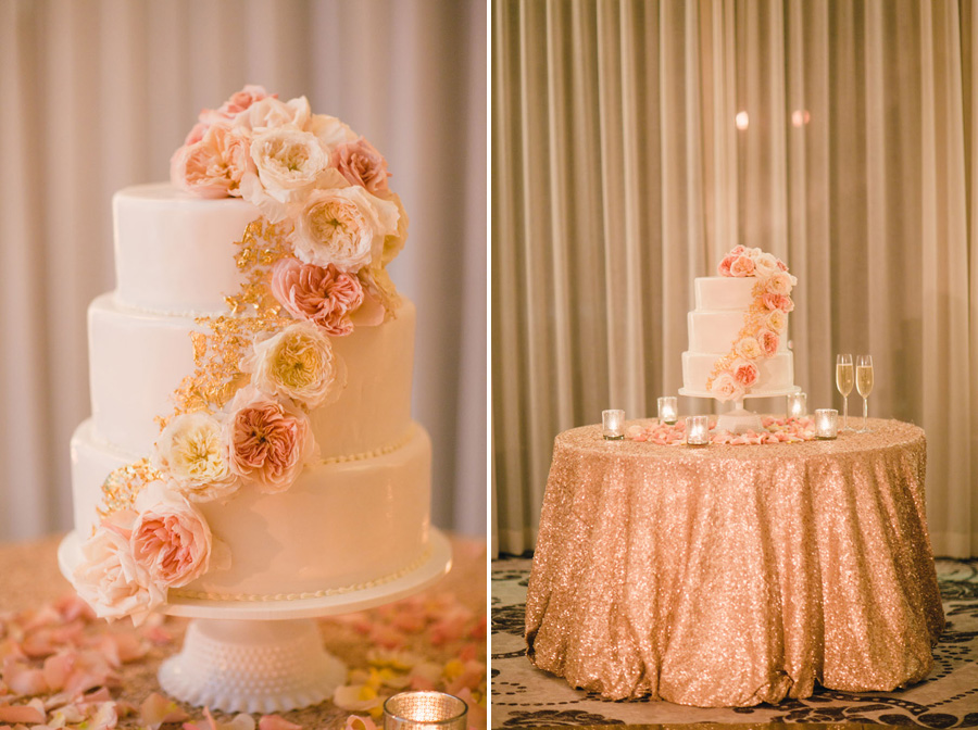 www.santabarbarawedding.com | Peach and Gold Cake | Wedding Cake Inspiration | Belmond El Encanto | Gold Cake Table | La Tavola Linen | Michelle Beller Photography