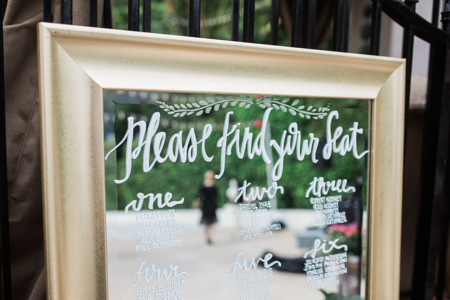 www,santabarbarawedding.com | Escort Card Mirror | Gold Decor Inspiration | Kiel Rucker Photography