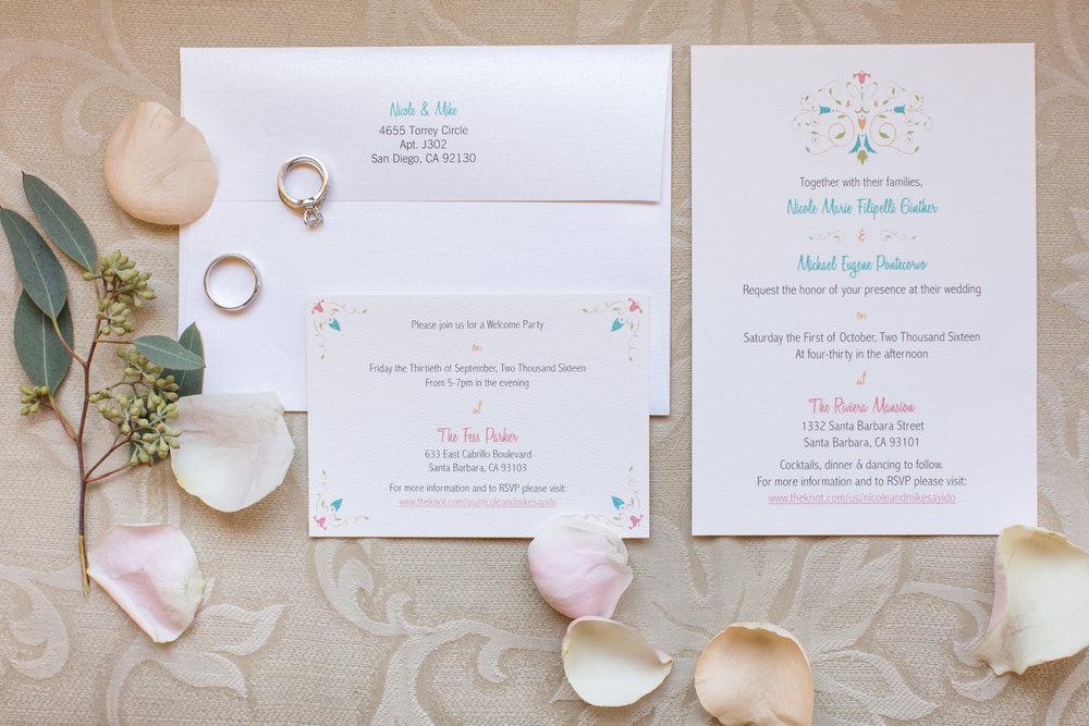 www.santabarbarawedding.com | Anna J Photography | University Club of Santa Barbara | Wedding Invitations