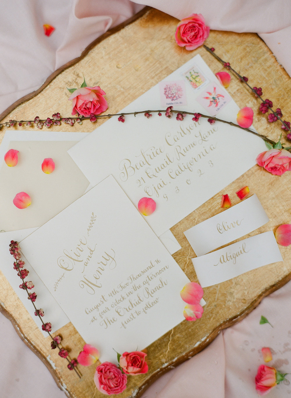 www.santabarbarawedding.com | Megan Sorel Photography | Dos Pueblos Orchid Farm | Wedding Invitations