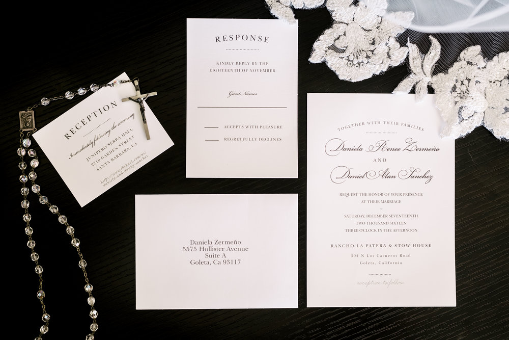 www.santabarbarawedding.com | Rewind Photography | Rancho La Patera | Serra Hall | Wedding Invitations