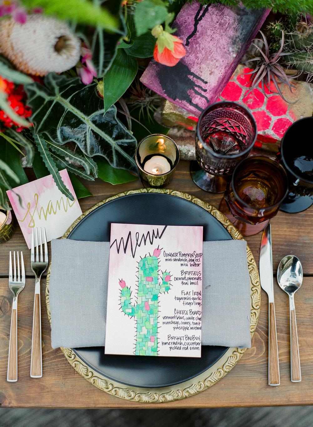 www.santabarbarawedding.com | I Heart My Groom | Bijoux Events | The Goodland SB | Ella & Louie | Reception Table Place Setting