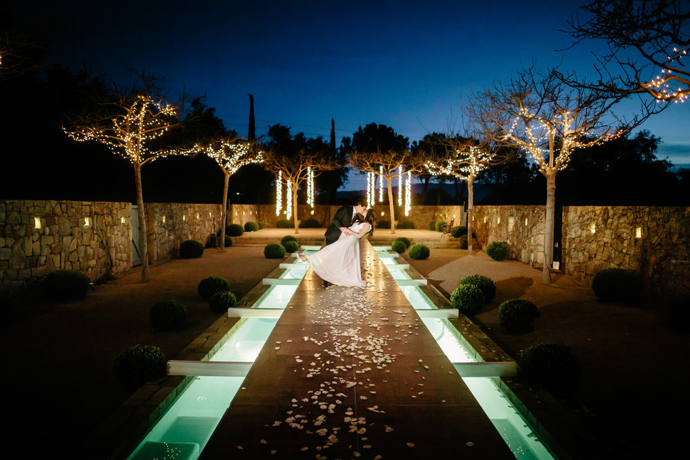 www.santabarbarawedding.com | Rewind Photography | Provence in Ojai | Pool Runway | Bride and Groom | Vigen's Party Rentals