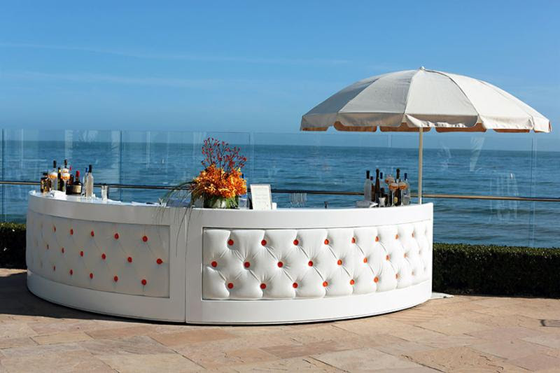 www.santabarbarawedding.com | Rrivre  Works | Event Rental | White Tufted Bar | Wedding Rentals