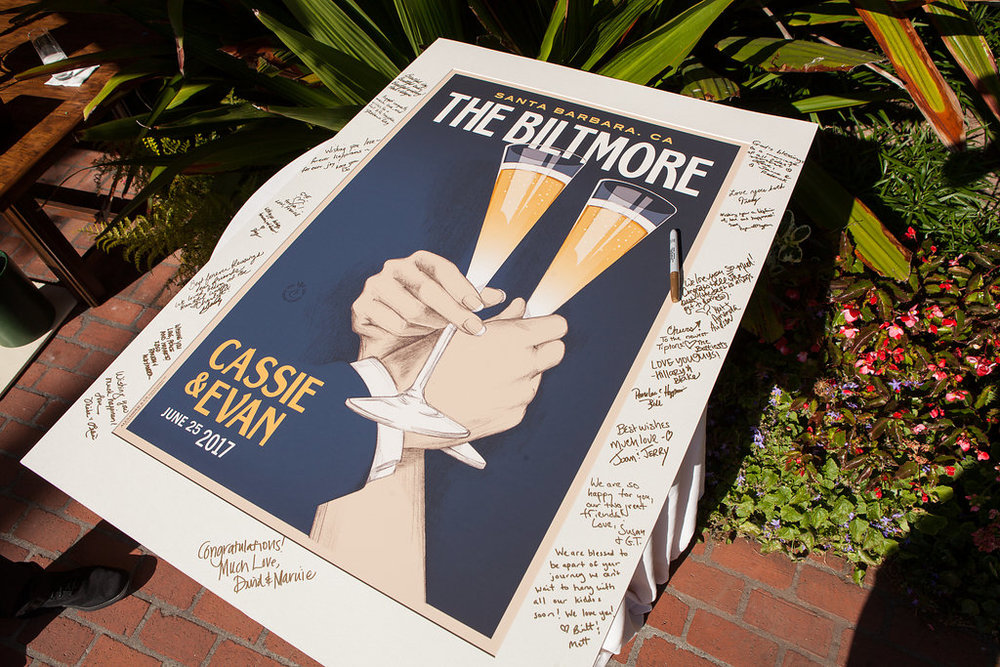 www.santabarbarawedding.com | Melissa Musgrove Photography | Four Seasons Resort The Biltmore | Wedding Poster | Guest Book