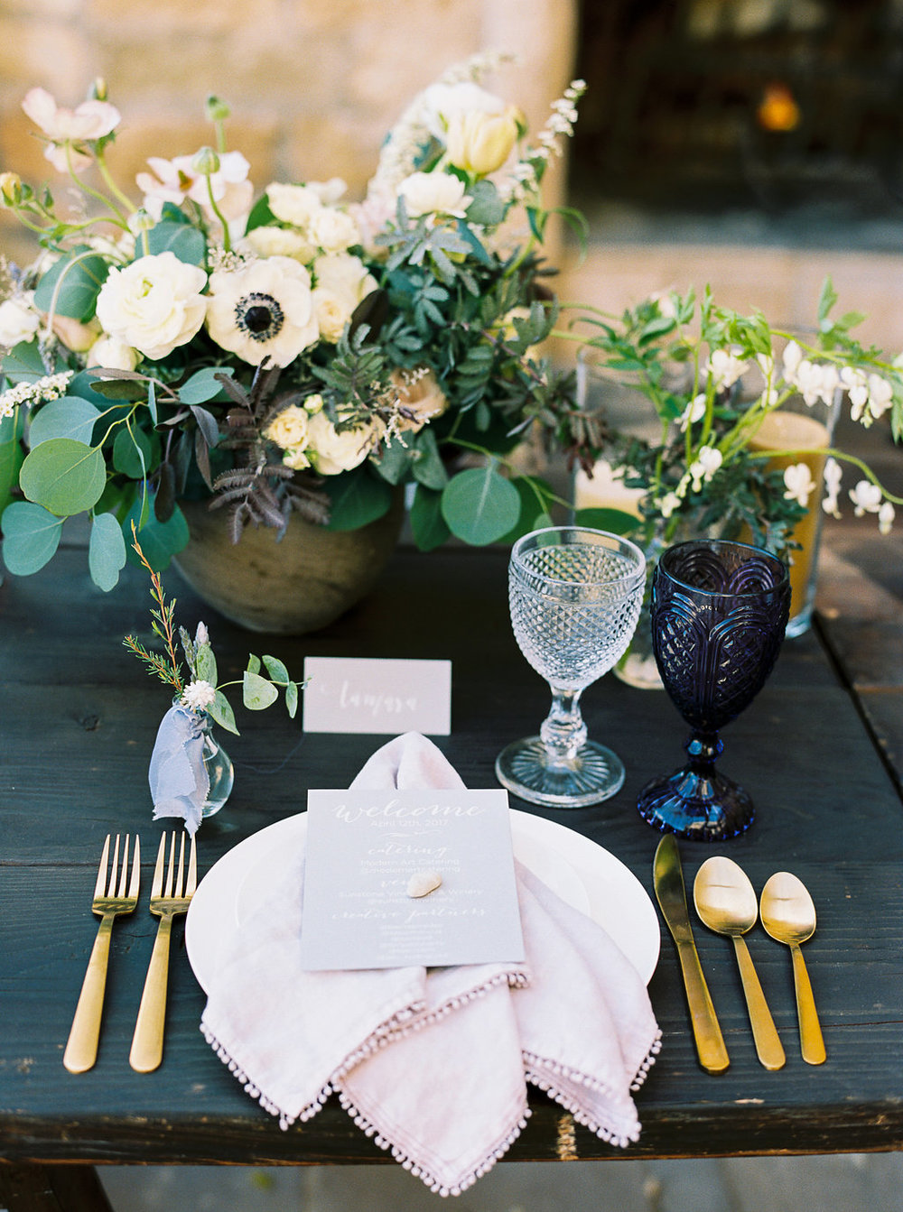 www.santabarbarawedding.com | Sunstone Winery | Jen Rodriguez | Dinner Party | Place Setting