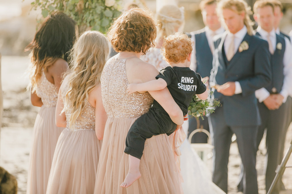 www.santabarbarawedding.com | Kristen Booth Photography | Rincon Beach Club | Ceremony | Ring Bearer