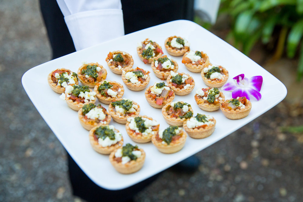 www.santabarbarawedding.com | hors d'ouvres | appetizer tips | Catering connection | vegetarian tarts | wedding menu | Kiel Rucker Photography