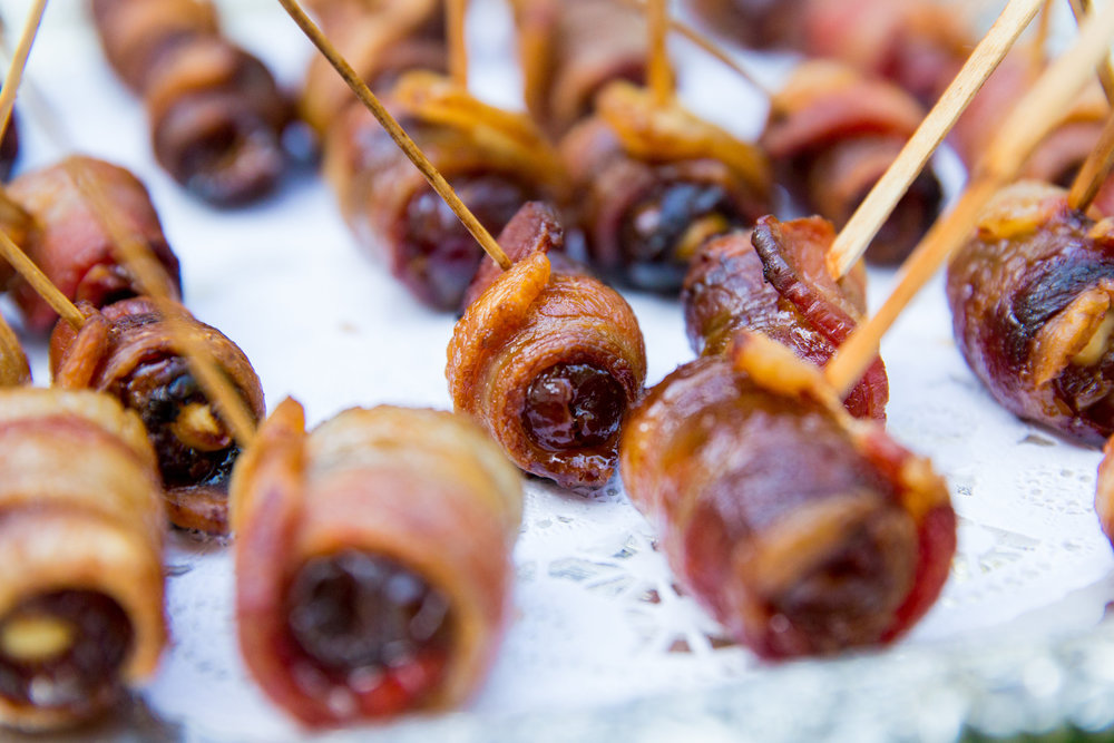 www.santabarbarawedding.com | hors d'ouvres | appetizer tips | Catering connection | bacon wrapped fig | wedding menu | Kiel Rucker Photography