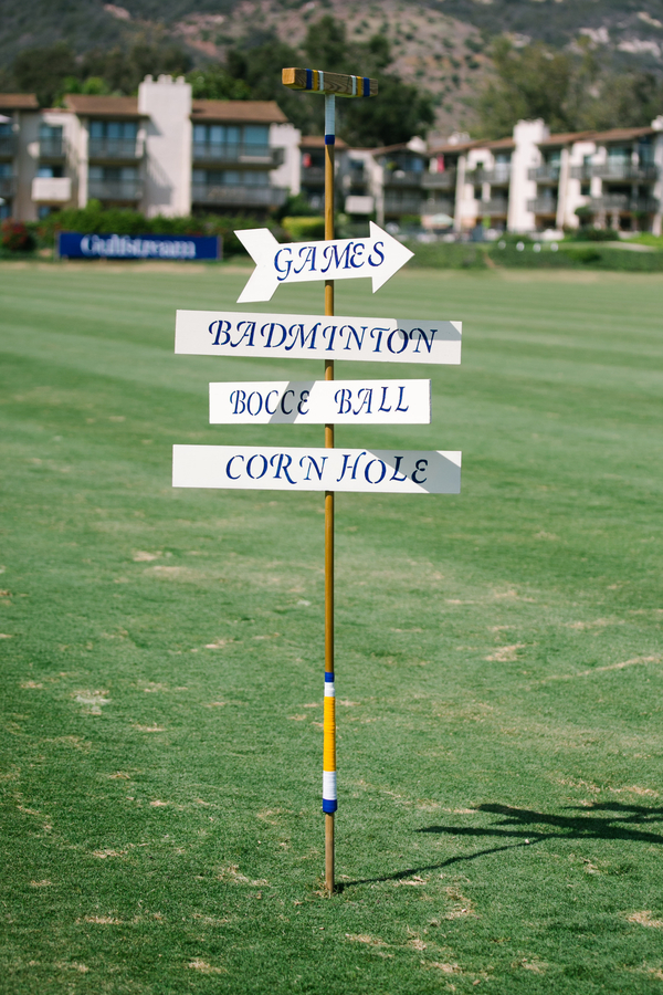 www.santabarbarawedding.com | SB Polo and Racquet Club | By Cherry Photography | Lawn Games Sign