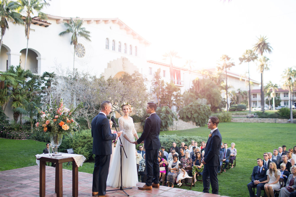 www.santabarbarawedding.com | orange wedding inspiration | wedding ceremony flowers | sunken gardens | ella and louie | anna j photo