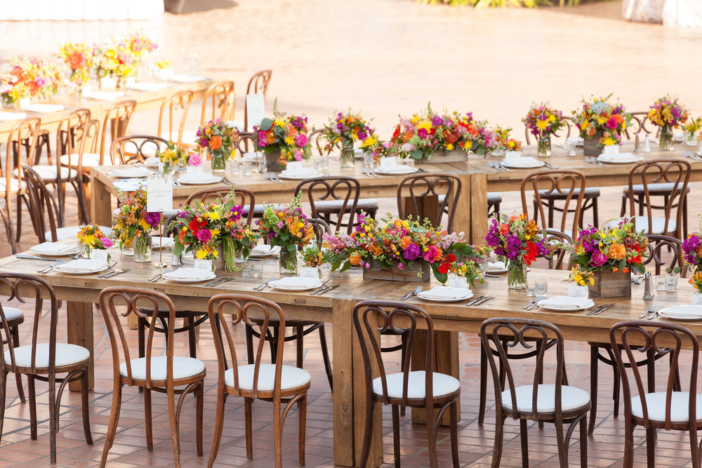www.santabarbarawedding.com | fess parker resort | wedding ceremony | colorful centerpieces | Plaza del Sol | Bijoux Events