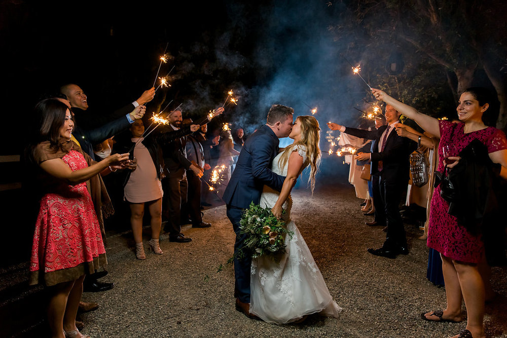 www.santabarbarawedding.com | Jessica Angell Photography | Apple Creek Ranch | Sparkler Kiss