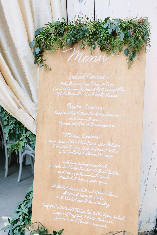 www.santabarbarawedding.com | Dos Pueblos Ranch | Birds of a Feather | Reception Menu