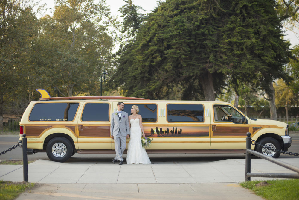 www.santabarbarawedding.com | By Cherry Photography | Chase Palm Park | Bride and Groom and Limo