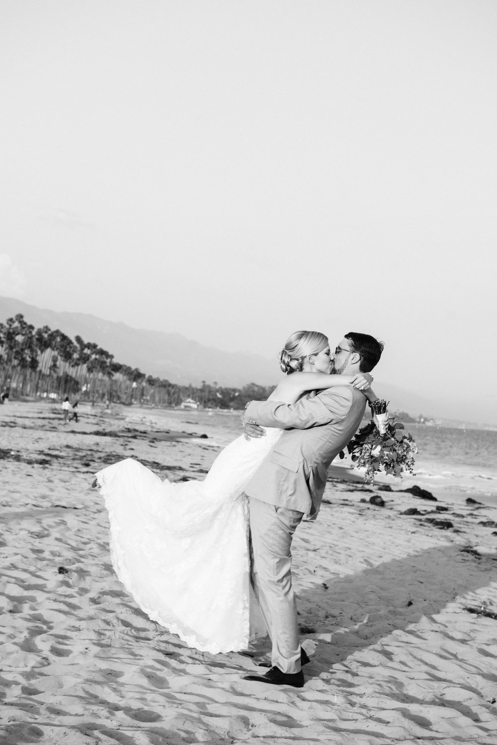 www.santabarbarawedding.com | By Cherry Photography | Chase Palm Park | Bride and Groom | Beach